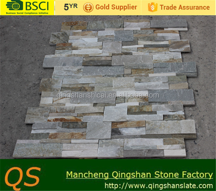 natural honey gold multicolor slate decorative stone facade wall facing stone