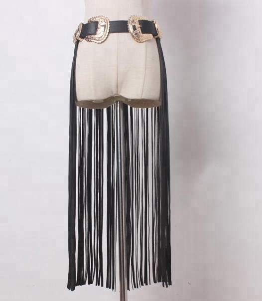 2018 new Long fringe belt female double gold buckle waist belts for ladies