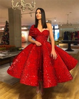 Luxury Red Sequin Prom Dress Arabic Short Sexy Woman Wear Party Gown Princess Ball Gown Formal Dresses