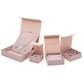 Custom luxury elegant cardboard paper jewelry set packaging box with hot stamping logo