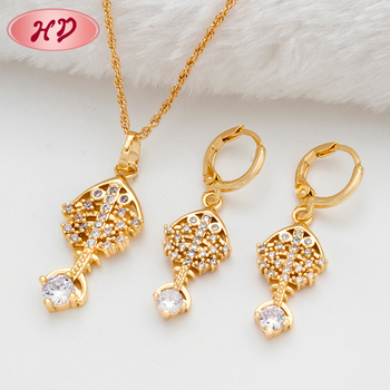 Fashion Earring Chain Necklace Set Women Wedding Chinese Gold African Jewelry Made With Nice Cubic Zircon