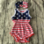 Stylish little girl cotton sleeveless backless ruffle baby romper in star pattern for Patriotic Day 4th of July day