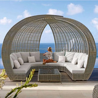 Latest design outdoor rattan sun bed wicker day bed hotel swimming pool chaise lounge