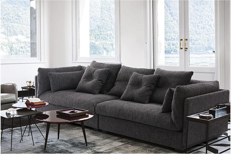 italienisch moderne schlichte design grau stoff sofa. Black Bedroom Furniture Sets. Home Design Ideas