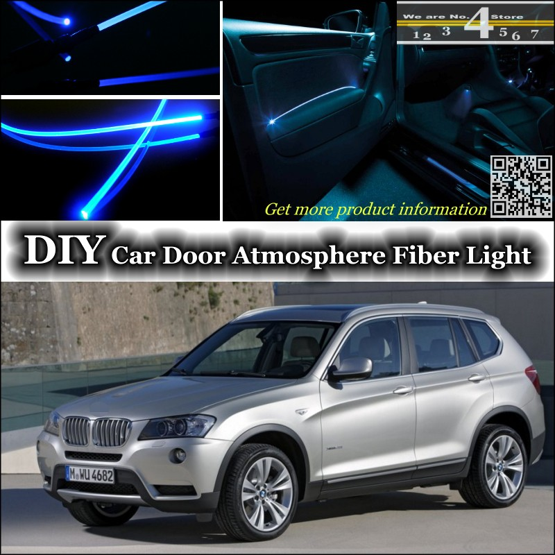 interior Ambient Light Tuning Atmosphere Fiber Optic Band Lights For BMW X3  E83 F25 Door Panel illumination (Not EL light) Refit