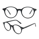 SRA076 black custom color optical acetate round glasses