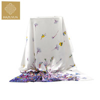 High Quality Custom Butterfly Printing Soft Hand Feel Long Style Lady New Satin Silk Scarf With Beautiful Design