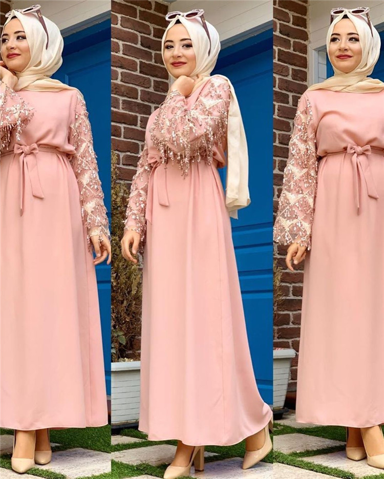 New Arrival sequin tassel sleeve maxi dress for muslim women and girls