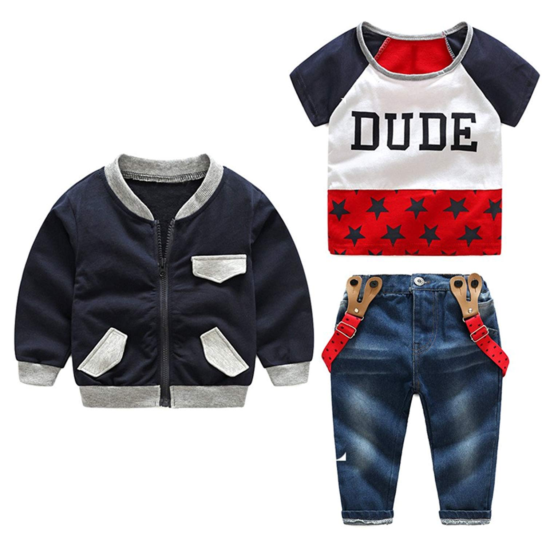 Moyikiss Studio Cotton Little Boys Casual Outfits Set Coat+Tshirt+Suspenders Denim Trousers Gentleman 3Pcs