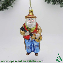 China factory hot selling lowes christmas decoration stained blown glass santa playing guita ornament