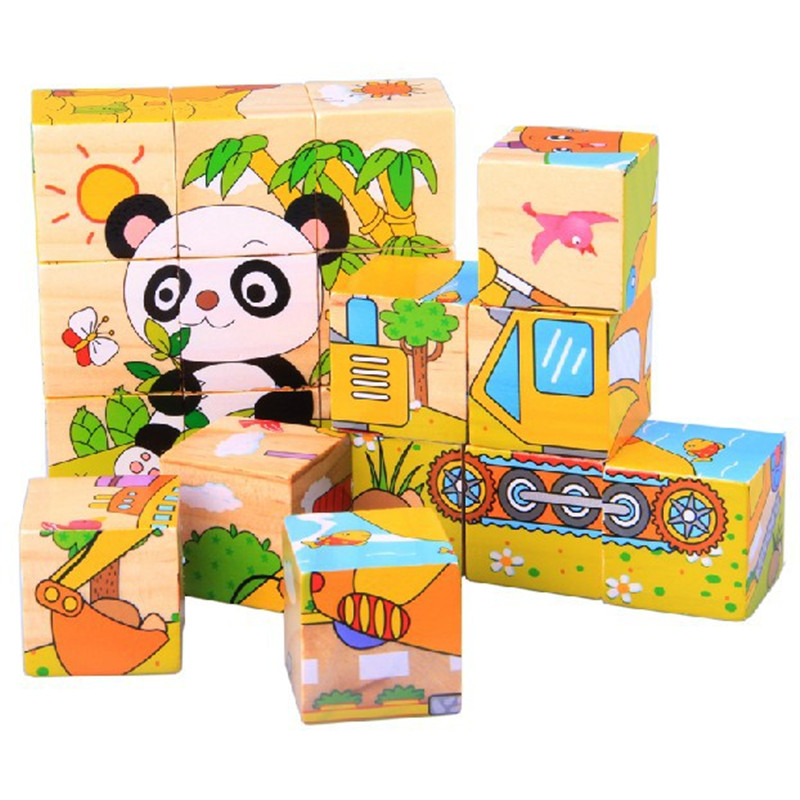 New Design Wooden Building Blocks Carton 3d Animals Educational Puzzle For Kids Baby