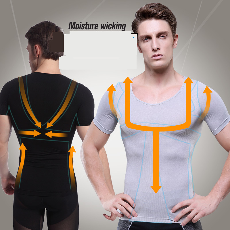 6c1c9817 men thin gym exercise attractive bodybuilding pro tight short sleeve sports  t-shirt man sexy muscle Abdomen Slimming tops tees