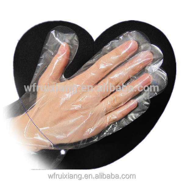 PE Material and Polyester Outer Material Ldpe Gloves Pe Disposable Gloves Folded Pe Glove In Bag/pouch