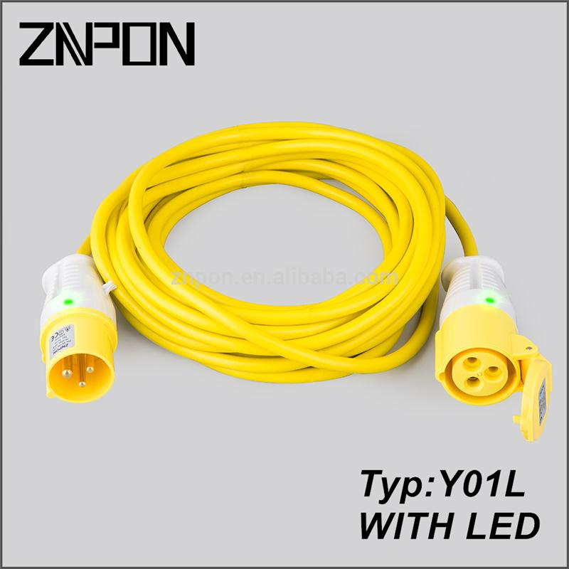 Y01L Yellow electrical power extension cord with led light