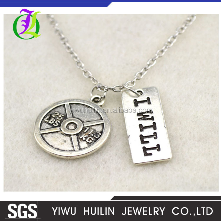 A1093 Yiwu Huilin Jewelry New style fashion metal silver engraved custom letter round pendant chain necklace