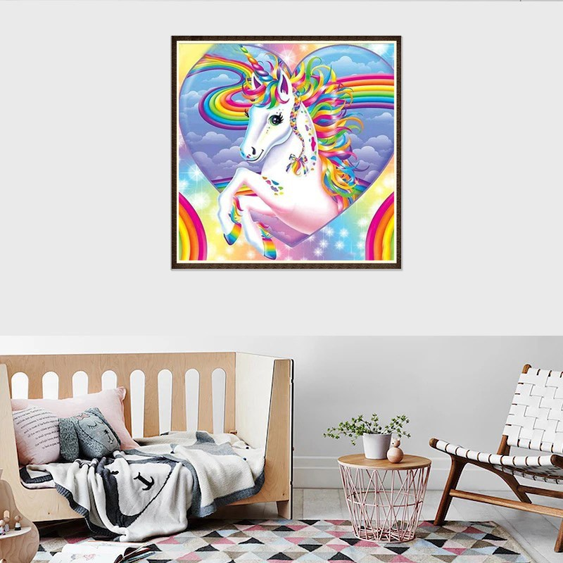 Wish Hot Selling Interior indoor decoration 5D Diamond Painting New Diamond Embroidery Unicorn Animal Foreign <strong>Trade</strong> Wholesale