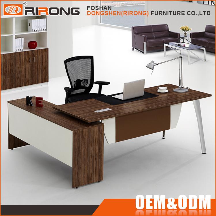 Mesa de la oficina moderna l en forma de madera maciza for Mesa oficina moderna
