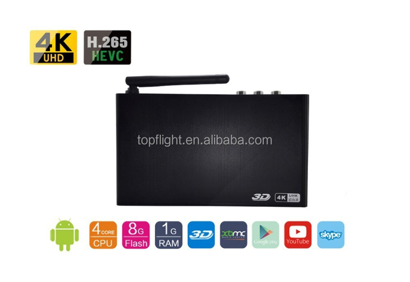 ARM Quad Core A7 8GB NAND Flash Full HD 4KH Mini Media Player/Netflix Tv Android Tv Box