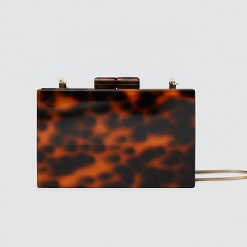 Fashion tort lady tortoiseshell print women tortoise shell acrylic clutch box