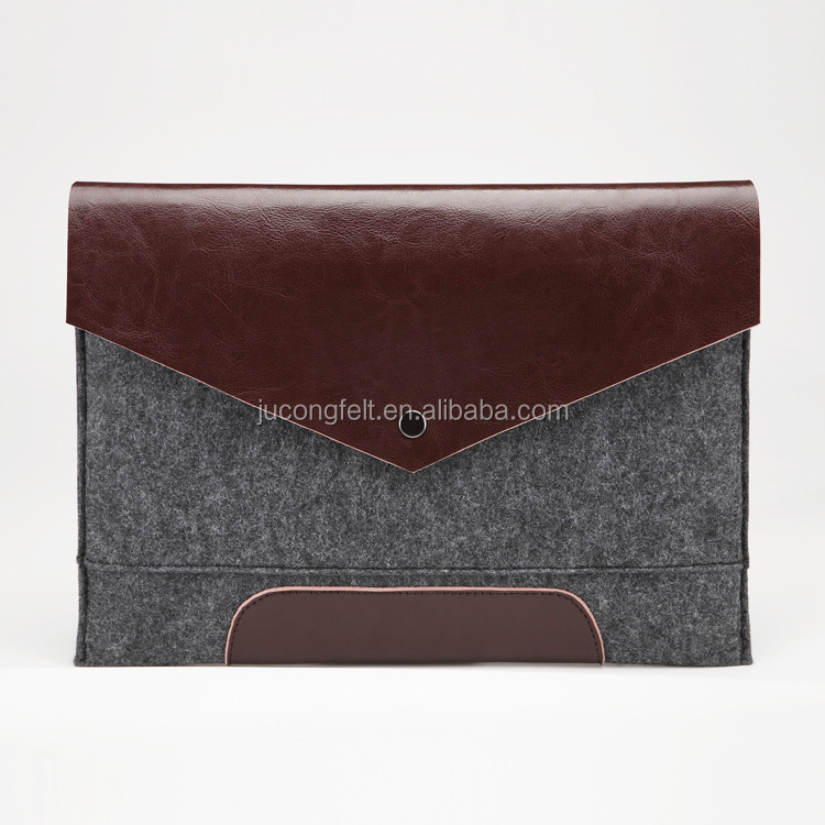 new Alibaba wholesale felt laptop bag with high quality leather