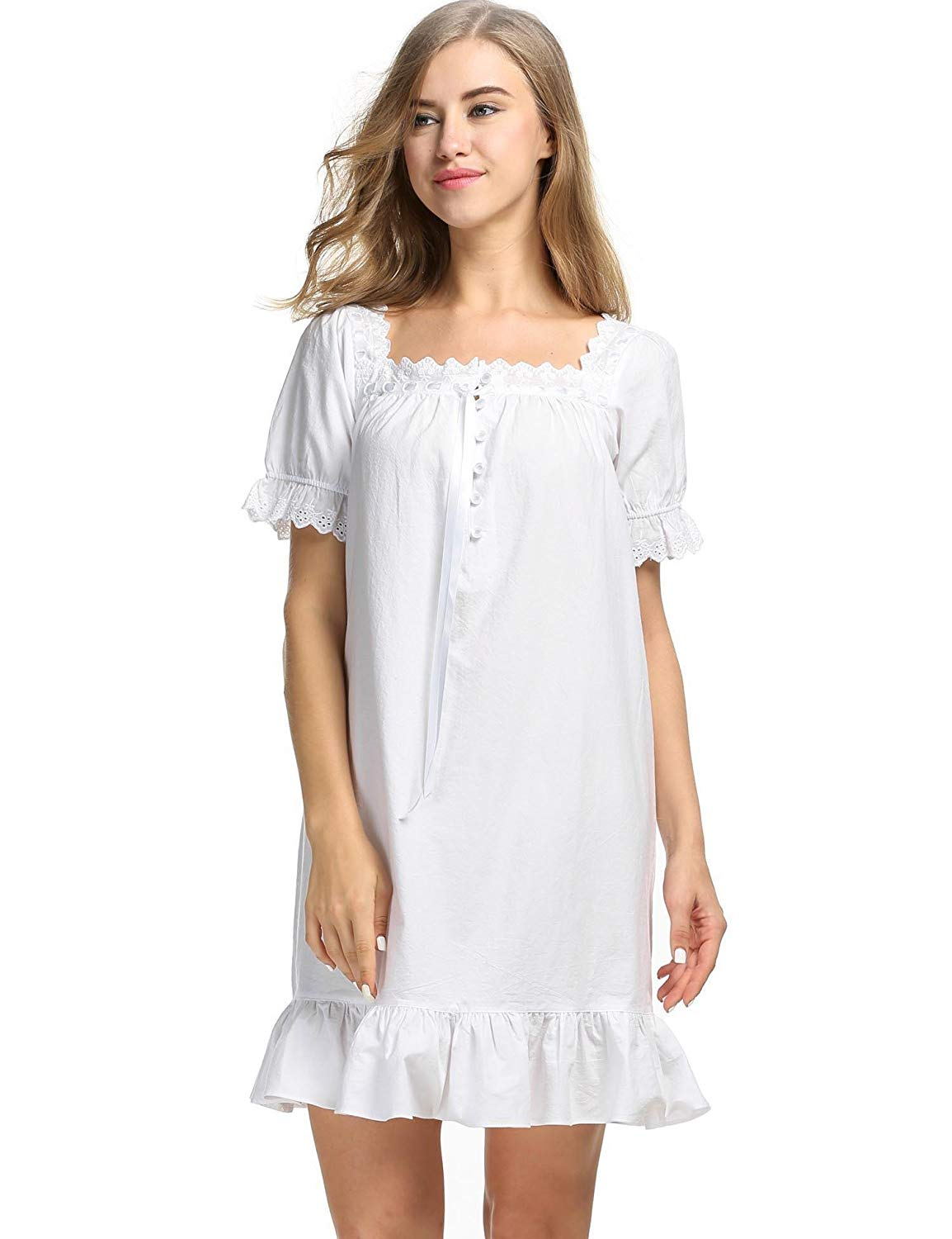15e9d13001 Get Quotations · Adoeve Womens Vintage Short Sleeve Cotton Sleepshirts  Martha Victorian Nightgowns S-XL