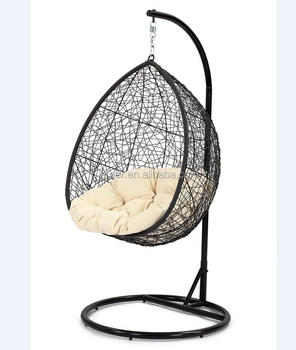 Outdoor Steel Egg Shape Rattan Hanging Swing Chair