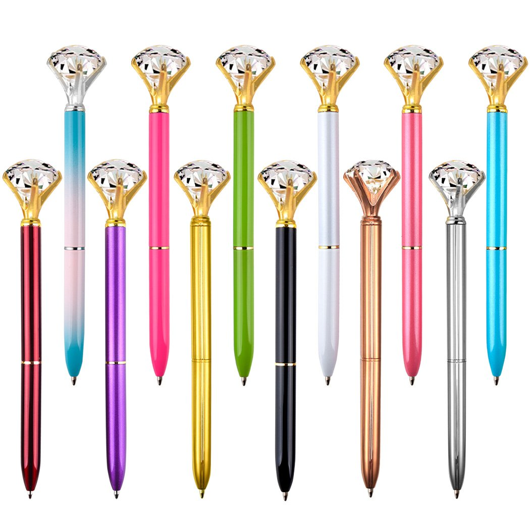 Coopay 12 Pieces Crystal Diamond Pens Bling Rhinestones Metal Ballpoint Pens Black Ink for School Office, 12 Different Colors