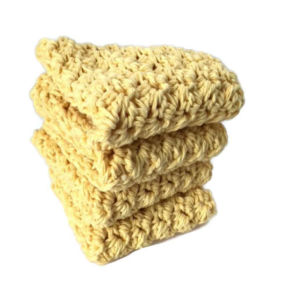 Handmade Cotton Dish Cloths Wash Cloths Yellow Crochet Kitchen Dishcloths Set of 4