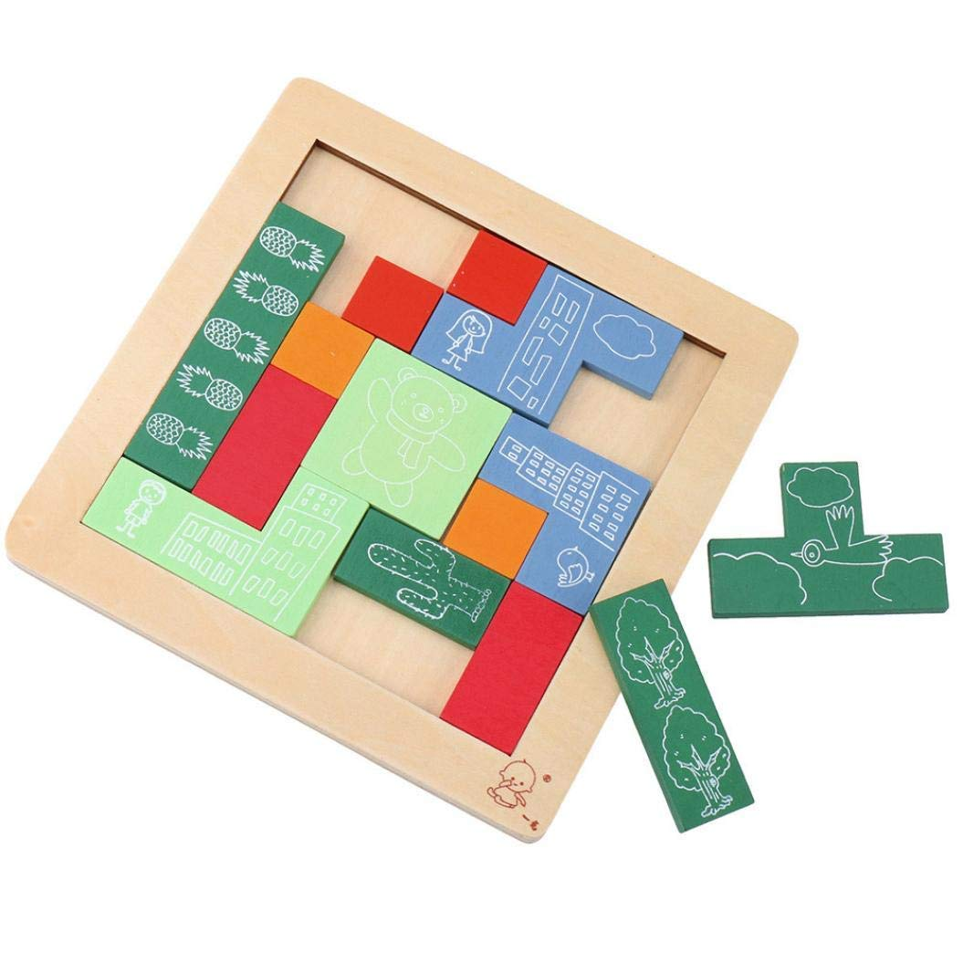 Gbell Geometrical Shape &Number Wooden Puzzle Jigsaw Toys Set,21×21×3 cm Jigsaw Board Educational Toy Gift for 3-6 Year Old Kids Baby Girls Baby Boys