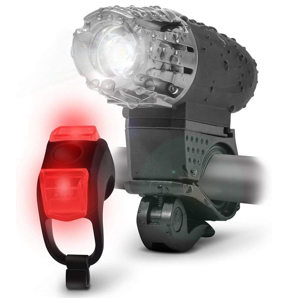 Toogoo Sport LED Bike Light Kit - Rechargeable Bicycle Headlight + Rear Tail Light, 4 Super Bright Front Light Modes