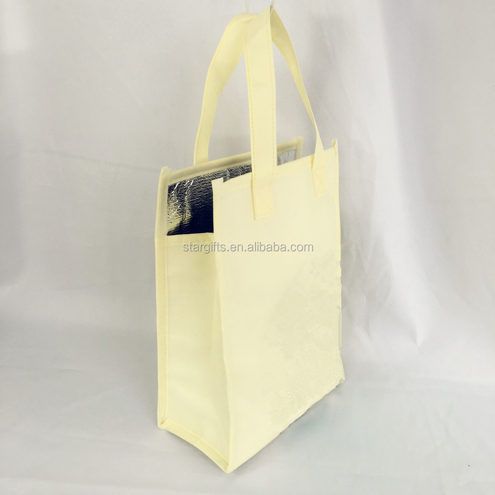 Collapsible Insulated Grocery Zipper Anti Slip Dot Non-Woven Fashion Thermo Tote Bag