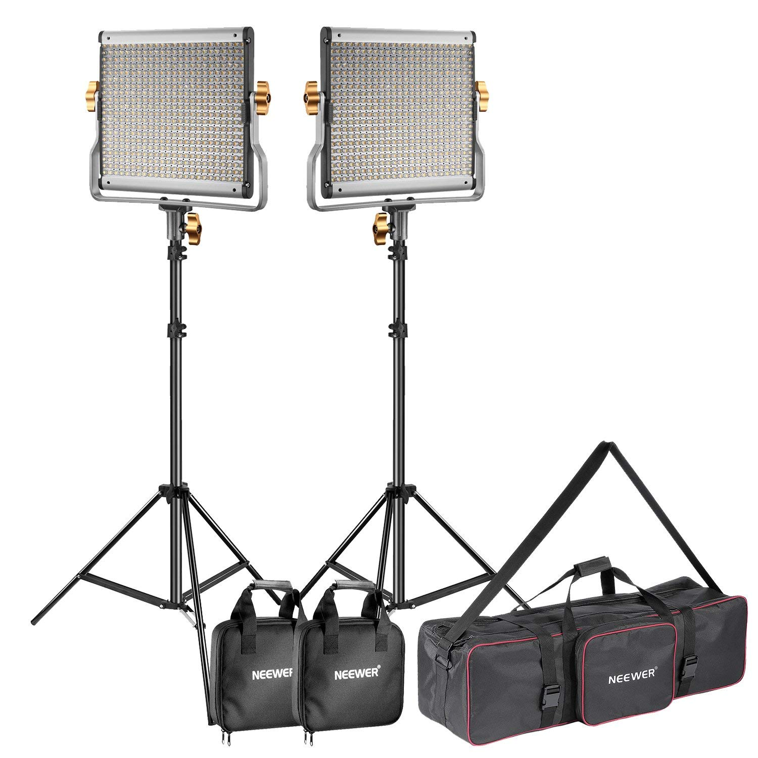 Neewer 2-Pack Dimmable Bi-color 480 LED Video Light and Stand Lighting Kit with Large Carrying Bag for Photo Studio Video Photography, Durable Metal Frame, 480 LED Beads,3200-5600K,CRI 96+