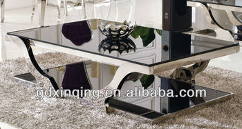Modern Design Tempered Glass Top Coffee Table Stainless Stee Frame L Living Room Furniture