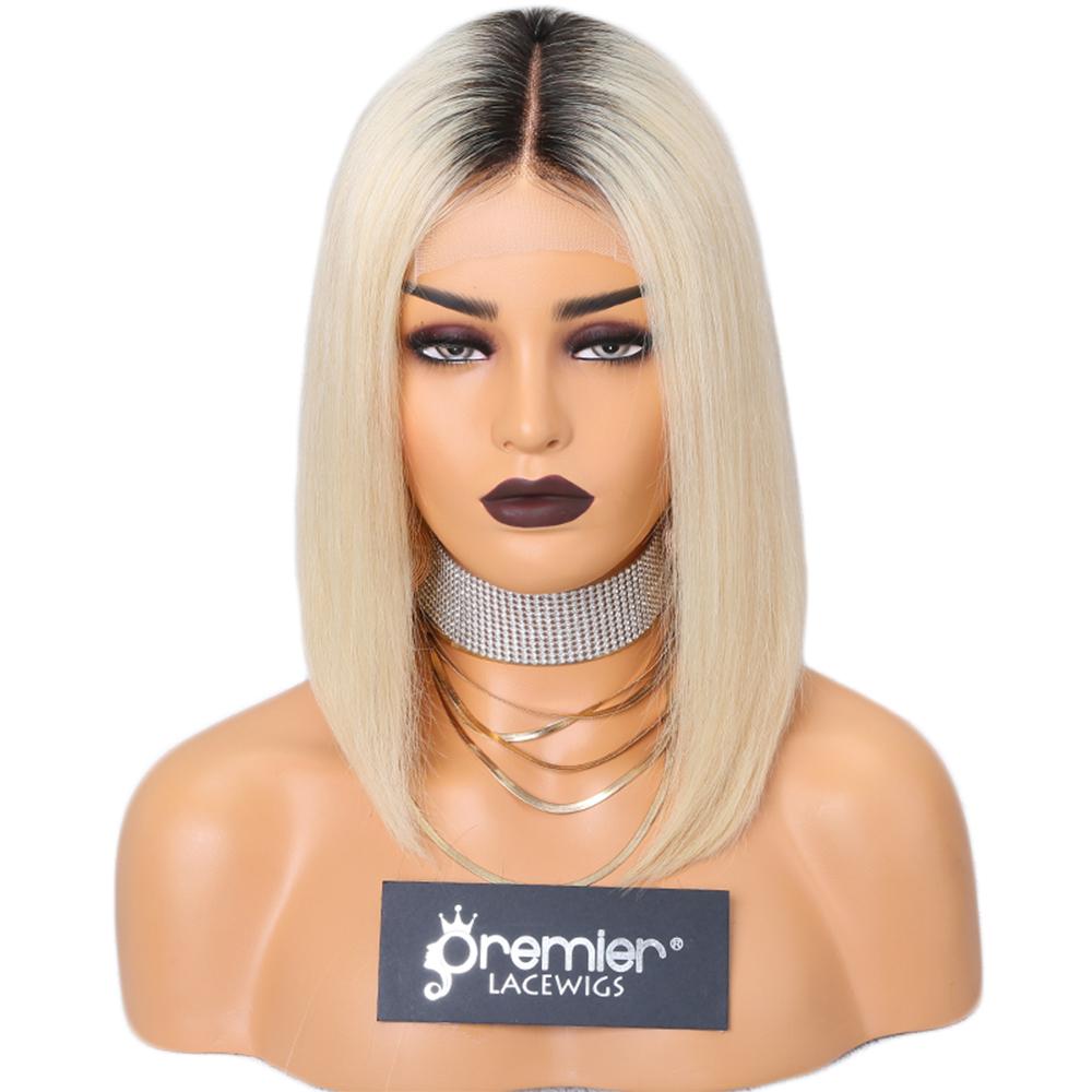 Купить со скидкой Premier 4.5 inch Lace 12inch 150% Short Bob Ombre Blonde Lace Front Wig Human Hair