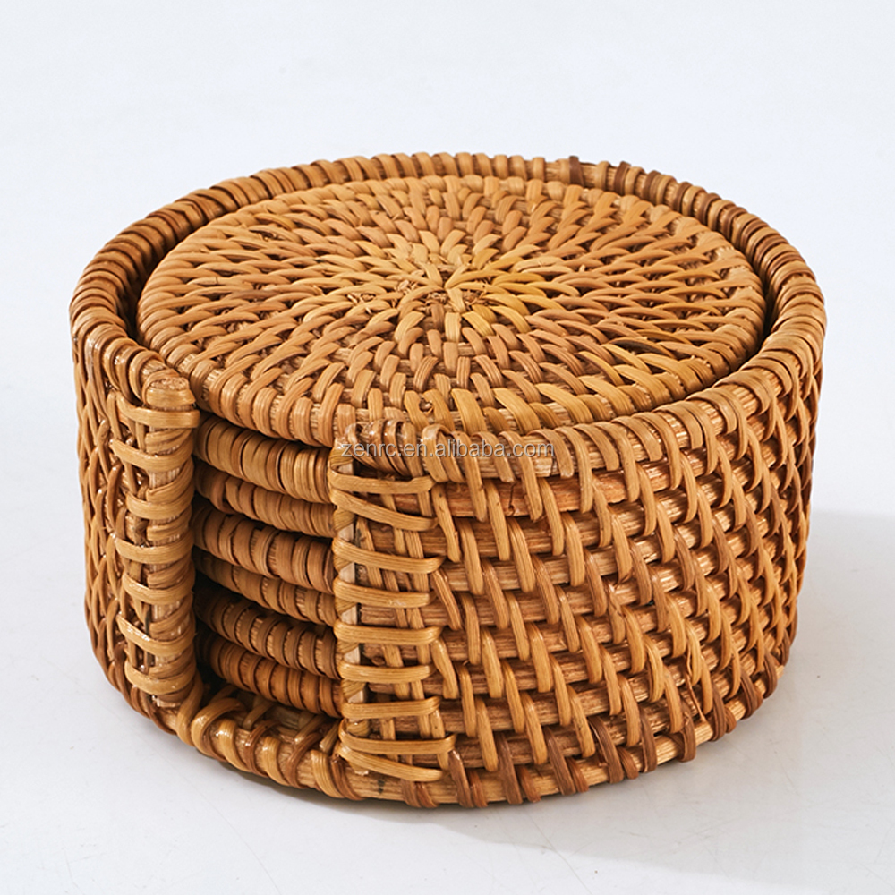 Hand Made Vietnam Cane Tea Cup Coaster Set Kitchen Insulation Pad