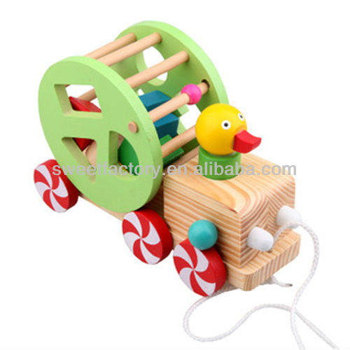 Wisdom duck pull string car toy,Funny wooden pull string toy,Lovely wooden pull string toy for baby