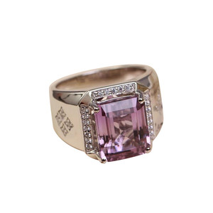 natural gemstone ring fine jewelry wholesale 2018 new trendy purple amethyst crystal 925 sterling silver silver crystal ring man