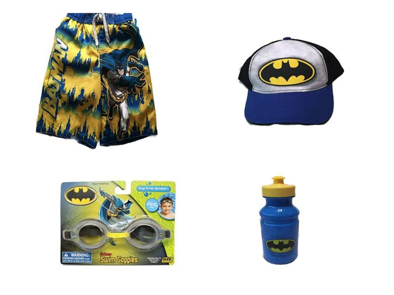 new style 5e263 5c7ad Get Quotations · Batman Swim Trunks, Baseball Cap and Poolside Beach Bundle