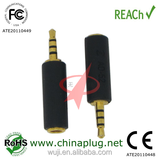 On sale black gold plated 2.5mm 4-pole to 3.5mm 4-pole jack for adaptor 3.5mm audio jack