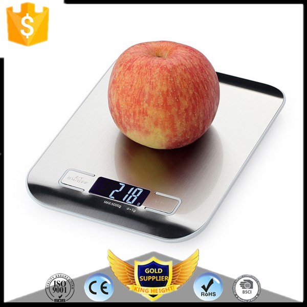 LCD Backlight Fingerprint-proof Stainless Steel Platform 5000g / 1g Weighing Device Electric Digital Food Kitchen Scale