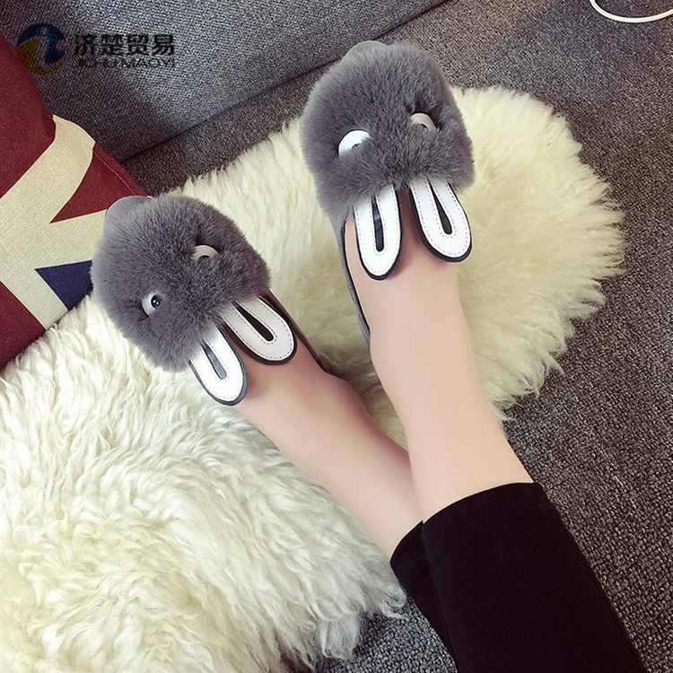 Autumn and winter new rabbit fur shoes womens shoes