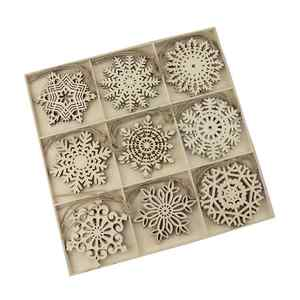 In Stock 27 PCS A Set Promotional Christmas Gift Blank Wooden Snowflake Christmas Tree Ornaments