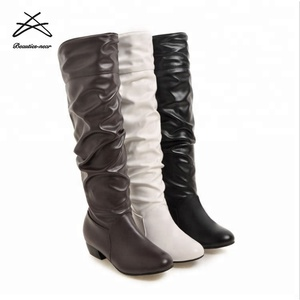 2018 Fashion Ladies Winter Dress Boots Womens Leather Knee High Boots