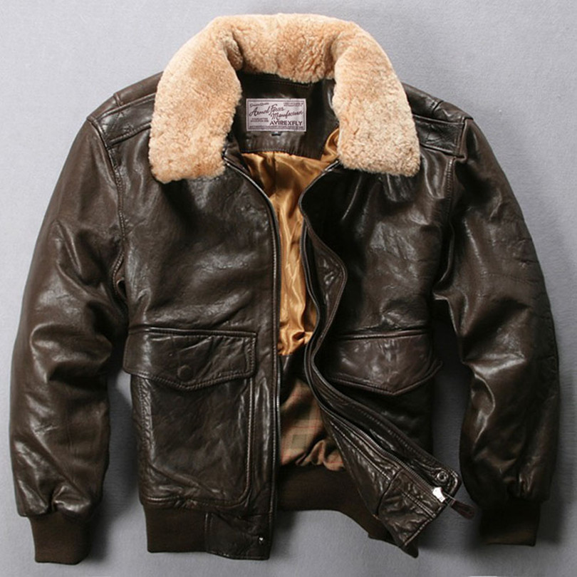 Avirex Fly Air Force Flight Jacket Fur Collar Genuine Leather Jacket