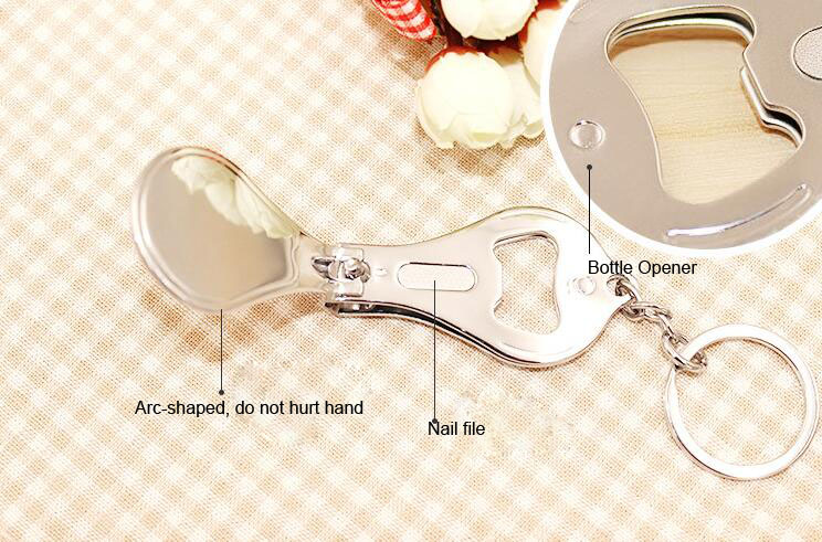 Costom Logo Fruit Serious 3 in 1 Multi Nail Cutter Clipper Keychain with Bottle Opener Function