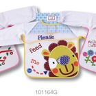 Hot sales baby long sleeve bibs with terry shell and waterproof