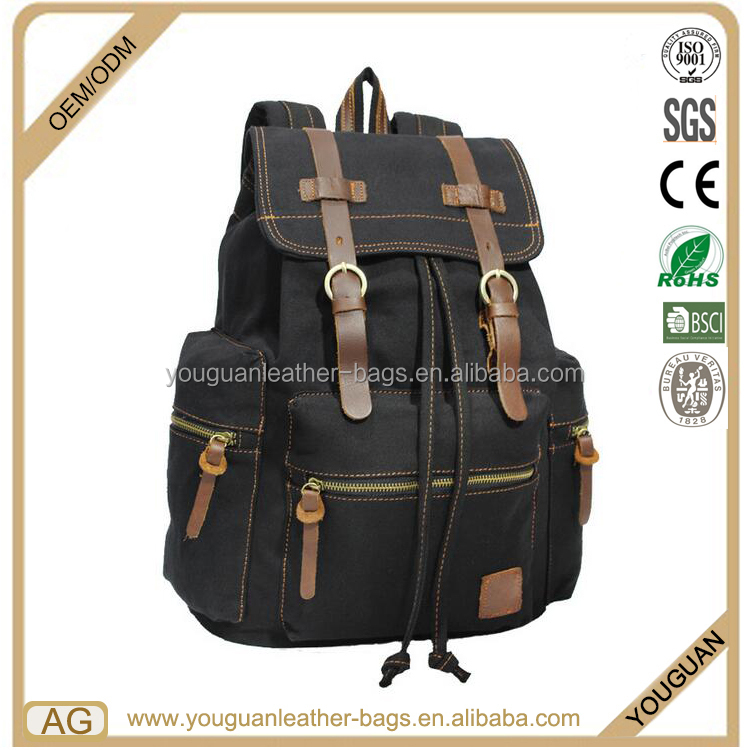 High quality fashion travel unisex black jean canvas gold metal zipper backpack with leather lock