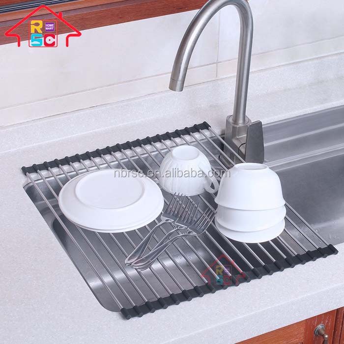 Multipurpose Roll-Up Dish Drying Rack,Foldable Sink Dish Drainer