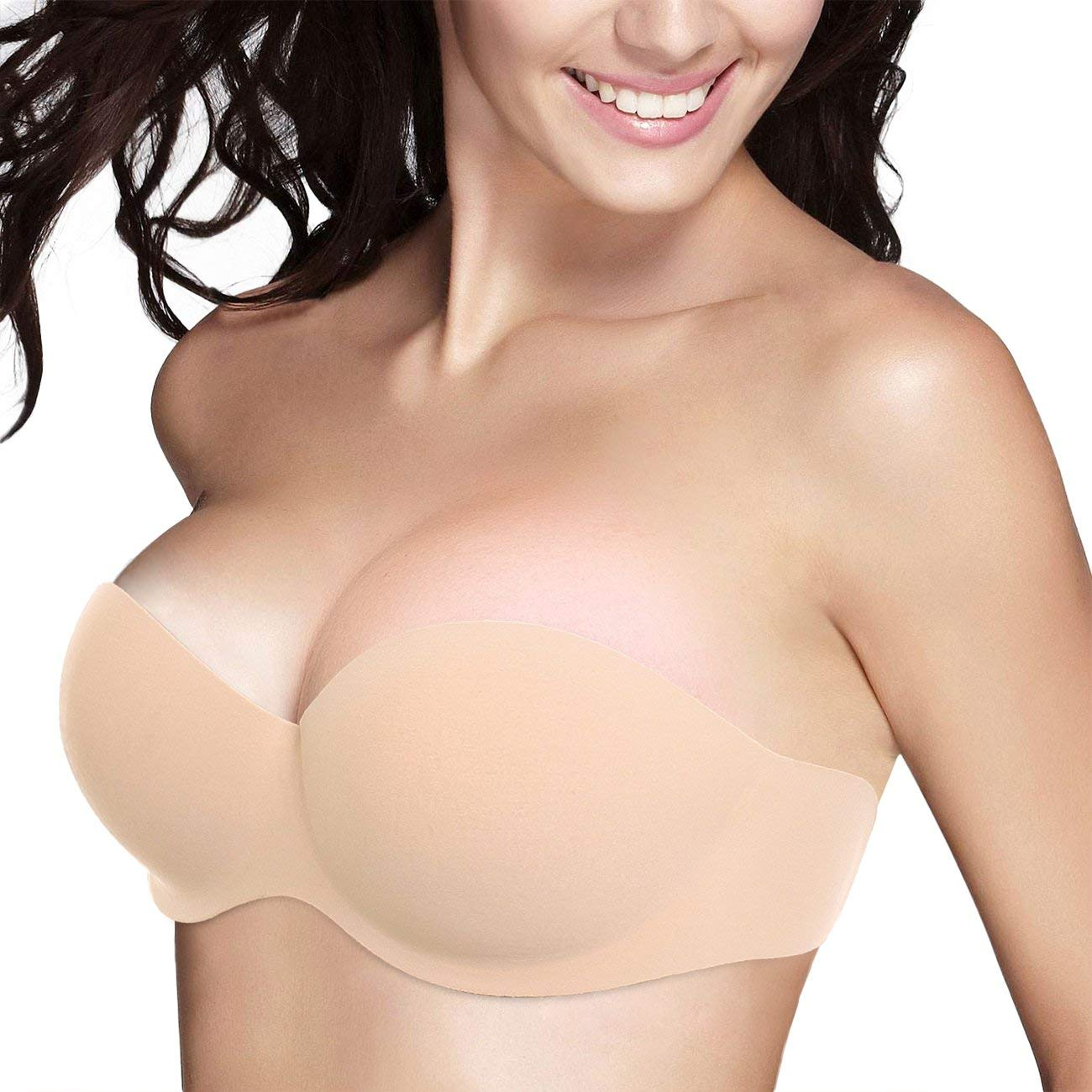 c3085bd503e Get Quotations ·  New 2018 Version  Plus Size Strapless Adhesive Bra for  Women Push Up One Piece