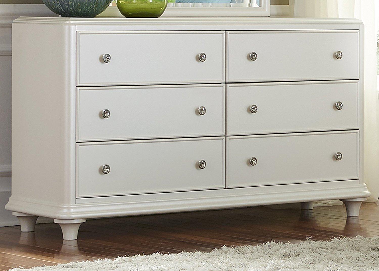 "Liberty Furniture 710-BR30 Stardust 6-Drawer Dresser, 58"" x 18"" x 34"", Iridescent White"